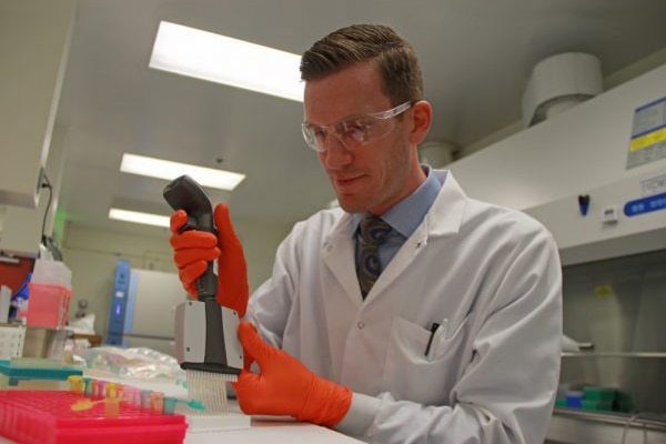 Researcher Michael Feasel, with the Army's Edgewood Chemical Biological Center, studies the metabolic effects of carfentanil. Courtesy photo