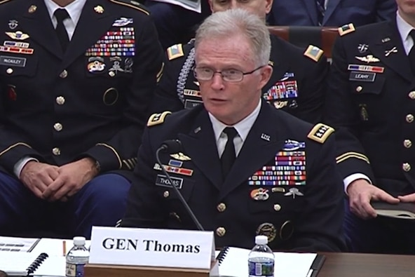 Owen West, assistant secretary of defense for special operations and low-intensity conflict, and Army Gen. Raymond A. Thomas III, commander of U.S. Special Operations Command, testify at a hearing of the House Armed Services Committee's evolution, transformation and sustainment subcommittee on the fiscal year 2019 budget request for special operations forces and Socom.