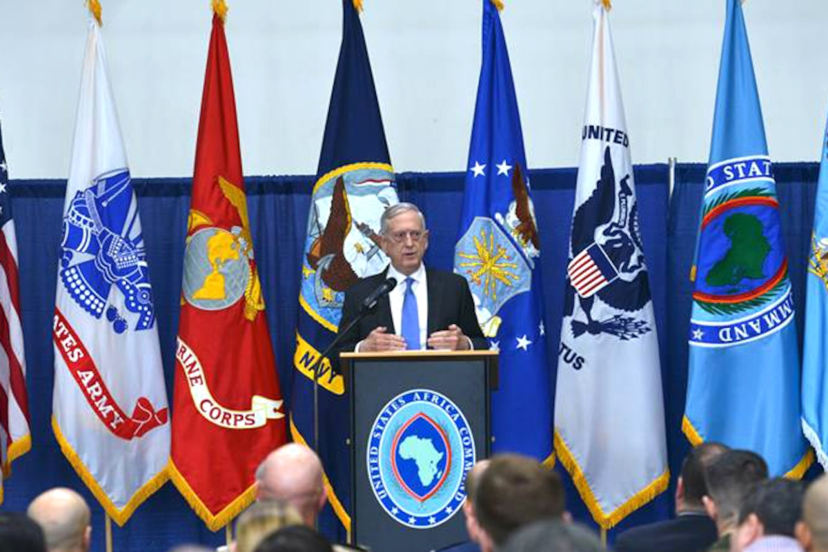 Defense Secretary James N. Mattis speaks at a town hall in Germany.