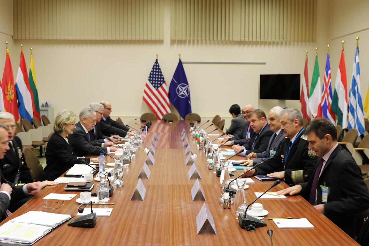 Defense Secretary James N. Mattis and U.S. Ambassador to NATO Kay Bailey Hutchinson, left, conduct bilateral discussions with Bulgaria's Defense Minister Krasimir Karakachanov