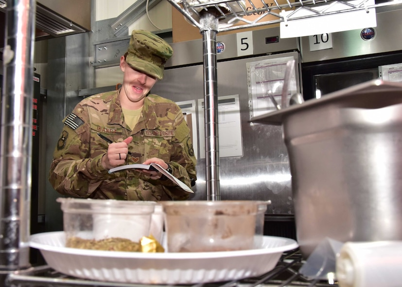 Maj. Jessica McGlade, 386th EMDG public health chief, and her team work diligently to ensure all food and food facilities at their location are safe. They also check to see if food handlers are knowledgeable about the food they are handling. Assessing the risks associated with productions, transportation, storage, preparation, and serving of food is a daily occurrence for them.