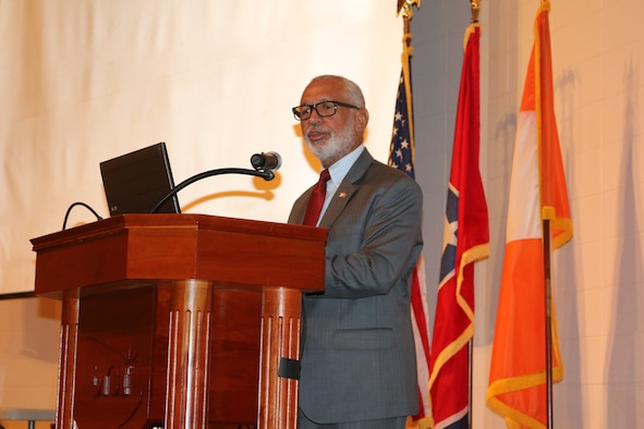 Former NASA administrator Charles Bolden Jr. speaks during the Arnold Air Force Base African-American Heritage Committee Black History Observance on Feb. 5 at the University of Tennessee Space Institute. (Air Force photo/Bradley Hicks)