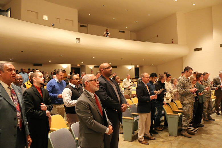 "Those in attendance for the Feb. 5 Arnold Air Force Base African-American Heritage Committee Black History Observance join to sing ""Lift Every Voice and Sing."" (Air Force photo/Bradley Hicks)"