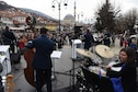 The U.S. Air Forces in Europe Band performs in Prizren, Kosovo, in celebration of the country's 10th anniversary of independence, Feb. 18, 2018. Sitting in on drums is Erin Mains, a public diplomacy officer at the U.S. Embassy in Pristina. (U.S. Air Force photo by Maj. Tristan Hinderliter)