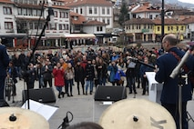 The U.S. Air Forces in Europe Band performs in Prizren, Kosovo, in celebration of the country's 10th anniversary of independence, Feb. 18, 2018. (U.S. Air Force photo by Maj. Tristan Hinderliter)