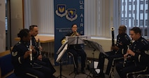 The United States Air Force in Europe-Air Forces Africa band plays at the GACO 15th anniversary reception Feb. 15, 2018, in Kaiserslautern, Germany. The band played background music before and after the ceremony.