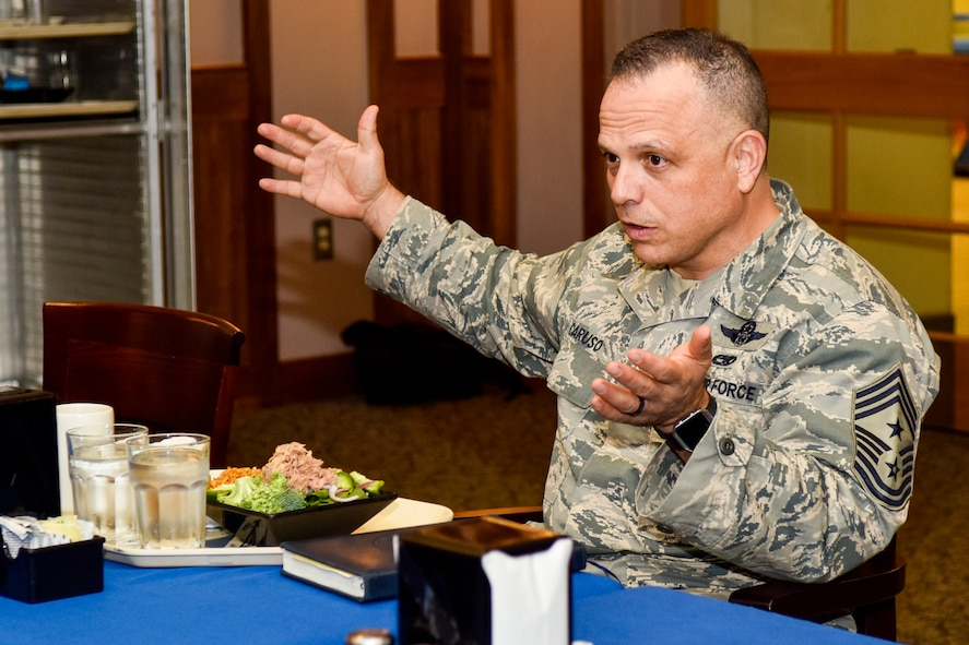 Chief Master Sgt. Matthew Caruso, command senior enlisted leader of U.S. Transportation Command, speaks at a chiefs luncheon at the dining facility, Feb. 15, 2018, at Seymour Johnson Air Force Base, North Carolina.