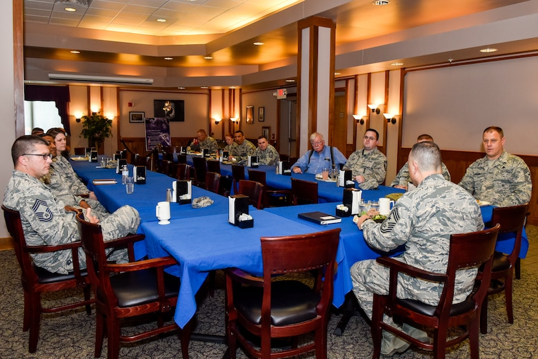 Chief Master Sgt. Matthew Caruso, command senior enlisted leader of U.S. Transportation Command, attends a chiefs luncheon at the dining facility Feb. 15, 2018, at Seymour Johnson Air Force Base, North Carolina.