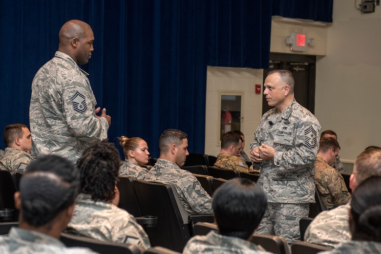 Senior Master Sgt. Marquis Daniels, 4th Security Forces Squadron, asks a question to Chief Master Sgt. Matthew Caruso, command senior enlisted leader of U.S. Transportation Command, during a senior NCO all call at the theater Feb. 15, 2018, at Seymour Johnson Air Force Base, North Carolina.