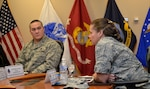 DLA Aviation Commander Air Force Brig. Gen. Linda Hurry addresses supply chain senior leaders at DLA Troop Support in Philadelphia on Feb. 12, 2018.