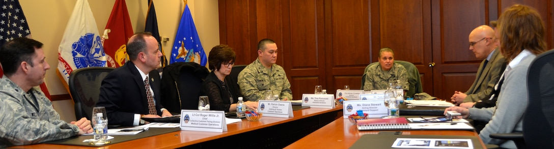 Defense Logistics Agency Aviation Commander Air Force Brig. Gen. Linda Hurry addresses supply chain senior leaders at DLA Troop Support in Philadelphia on Feb. 12, 2018.
