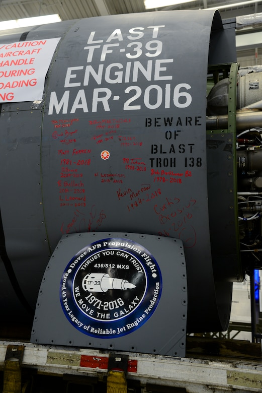 General Electric TF-39 turbofan engine, serial number 441052, sits on a trailer Feb. 16, 2018, at Dover Air Force Base, Del. TF-39 engines were used on the C-5A/B Galaxies and were upgraded to GE CF6-80 engines used on the C-5M Super Galaxies that make up the Air Force's current mobility fleet. (U.S. Air Force photo by Staff Sgt. Aaron J. Jenne)