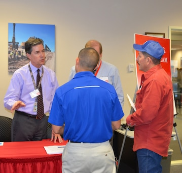 Albuquerque District, US Army Corps of Engineers MILCON/IIS staff speak face-to-face to small business representatives during the matchmaking session, March 30, 2017.