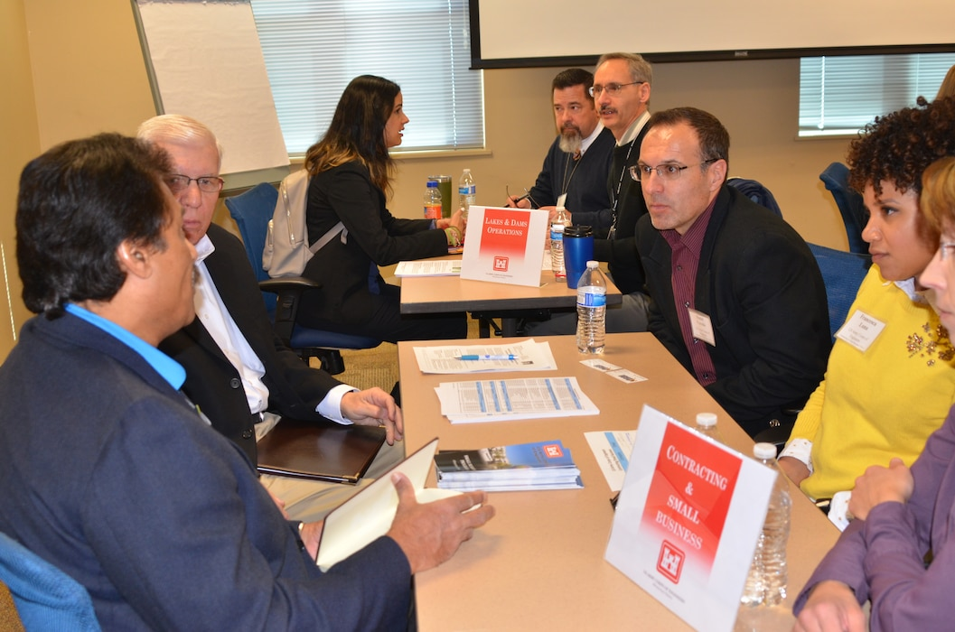 Albuquerque District staff speak face-to-face to small businesses during the matchmaking session, Feb. 7, 2018.