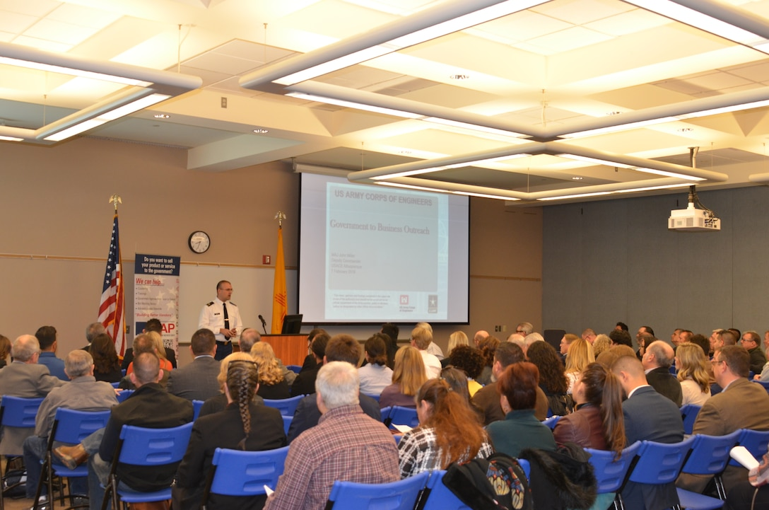 Albuquerque District Deputy Commander Maj. John Miller briefs Industry on the District's mission, programs, and contracting opportunities, Feb. 7, 2018.