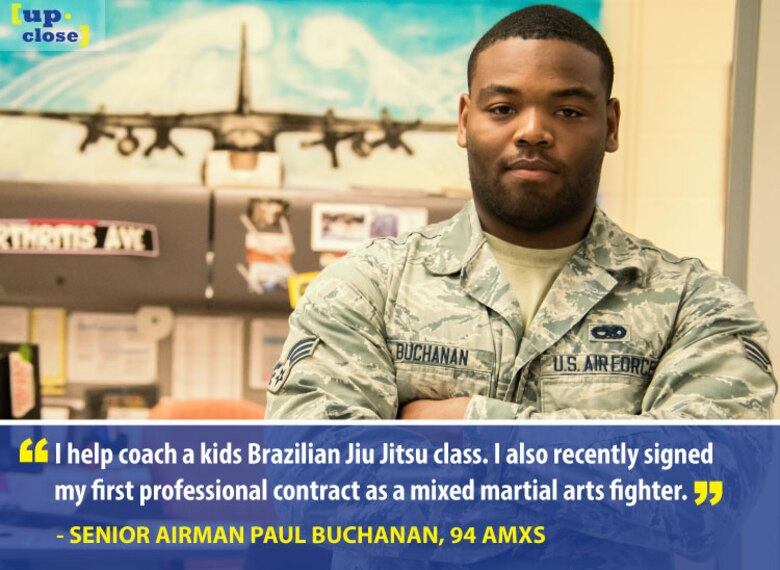 Senior Airman Paul Buchanan, 94th Aircraft Maintenance Squadron avionics technician, is this week's Up Close personality. Up Close is a weekly series spotlighting individuals around Dobbins Air Reserve Base. (U.S. Air Force graphic/Staff Sgt. Andrew Park)