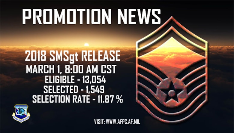 Air Force officials selected 1,549 master sergeants for promotion to senior master sergeant of the 13,054 eligible in the 18E8 promotion cycle. The promotion list will post March 1. (U.S. Air Force graphic by Staff Sgt. Alexx Pons)