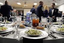 Team BLAZE members greet each other before the 2017 Annual Awards Banquet Feb. 9, 2018, on Columbus Air Force Base, Mississippi. Fifty-five Team BLAZE members and two flights competed in 20 categories for wing level awards. The banquet recognized multiple 19th Air Force level awards during the award presentations. (U.S. Air Force photo by Airman 1st Class Keith Holcomb)