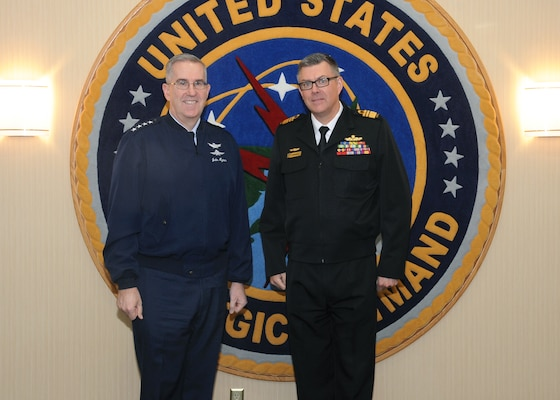 U.S. Air Force Gen. John Hyten, commander of U.S. Strategic Command (USSTRATCOM), meets with Australian Navy Vice Adm. Raymond Griggs, Vice Chief of the Defence Force, at Offutt Air Force Base, Neb., Feb. 21, 2018. During his visit, Griggs participated in bilateral discussions with Hyten and other USSTRATCOM leaders and subject matter experts on a variety of topics of mutual interest for Australia and the United States. Engagements like this are part of the long-standing partnership between the two allies to promote regional and global stability. One of nine Department of Defense unified combatant commands, USSTRATCOM has global responsibilities assigned through the Unified Command Plan that include strategic deterrence, nuclear operations, space operations, joint electromagnetic spectrum operations, global strike, missile defense, and analysis and targeting.