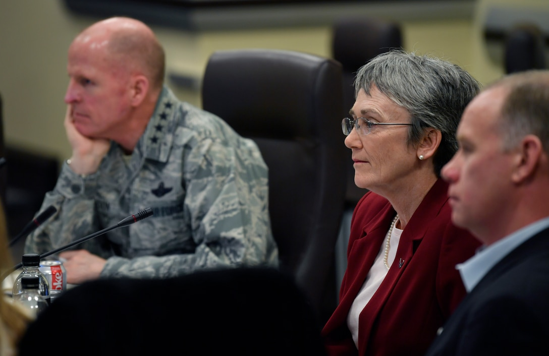 Secretary of the Air Force Heather Wilson and Air Force Vice Chief of Staff Gen. Stephen Wilson listen to civic leaders during an Air Force Civic Leader Conference at Joint Base Andrews, Md., Feb. 15, 2018. (U.S. Air Force photo by Wayne A. Clark)