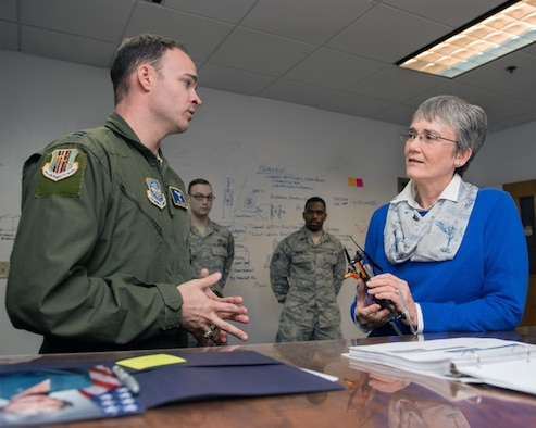 Secretary of the Air Force Heather Wilson speaks with U.S. Air Force Capt. Joey Brewer, 60th Air Mobility Wing during a stop at Travis Air Force Base, Calif., Jan. 23, 2018. Wilson toured the Phoenix Spark office during her stop. Phoenix Spark is a program chartered by U.S. Air Force Gen. Carlton D. Everhart II, Air Mobility Command commander to provide AMC Airmen at all levels avenues to be innovative in finding ways to modernizing the Air Force. (U.S. Air Force photo by Louis Briscese)