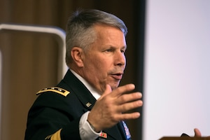 Army Lt. Gen Todd T. Semonite, chief of engineers and commanding general of U.S. Army Corps of Engineers, speaks during a 2018 Engineers Week event at the Pentagon.