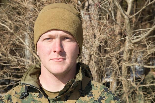 U.S. Marine Cpl. Steven Moody, takes a break from training at Mount Fuji Training area, Japan, Feb. 2, 2018.