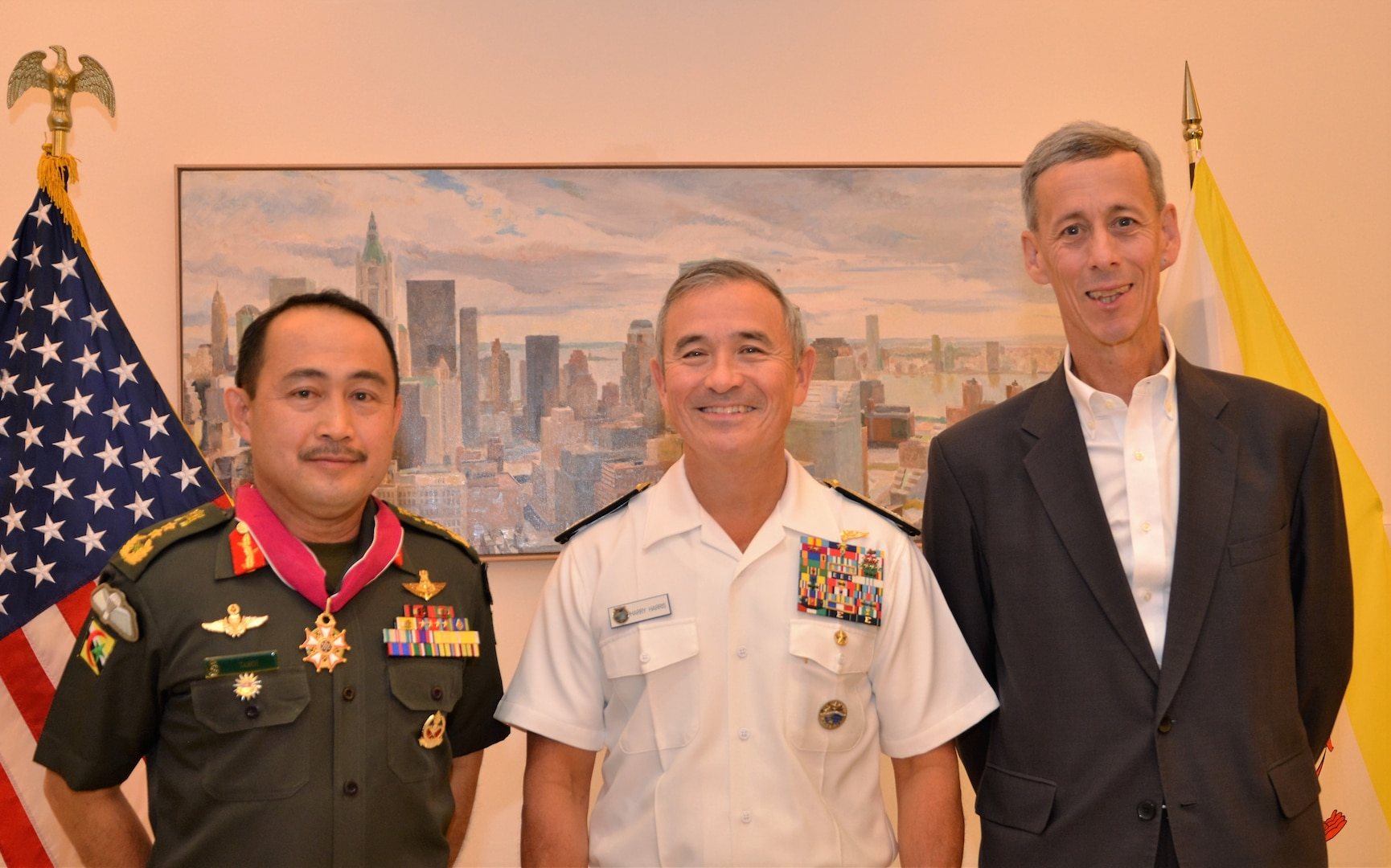 Admiral Harry B. Harris, Jr, Commander, U.S. Pacific Command, presents the Legion of Merit to Pehin Datu Pekerma Jaya Major General Dato Paduka Seri Mohd Tawih bin Abdullah, former Commander, Royal Brunei Armed Forces, at a special event hosted at the residence of U.S. Ambassador to Brunei Craig Allen. Adm. Harris is visiting Brunei to further meaningful engagement on economic and security cooperation with the sultanate. The United States and Brunei have benefited from a mutual friendship since 1850, and a security partnership since 1994.
