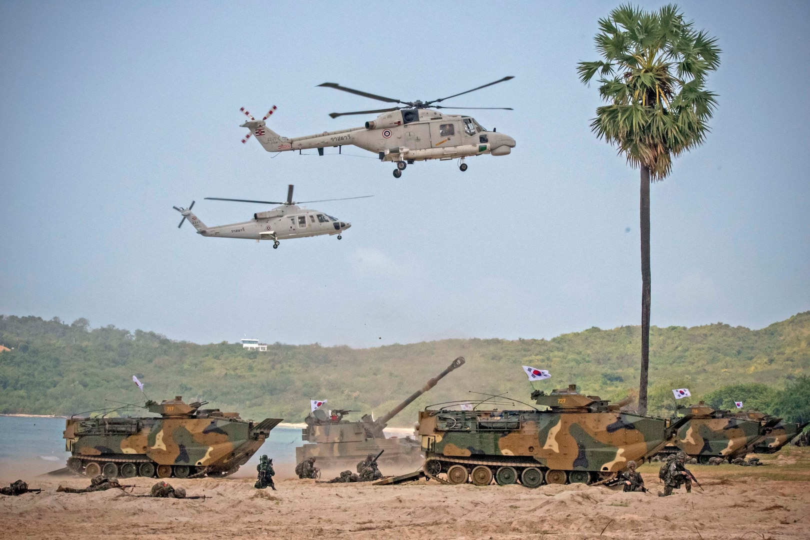 The U.S., Republic of Korea, and Royal Thai armed forces launch an amphibious assault on Hat Yao Beach, Rayong province, Thailand during Exercise Cobra Gold 2018, Feb. 17, 2018. CG18 provides a venue for the United States, allied and partner nations to advance interoperability and increase partner capacity in planning and executing complex and realistic multinational force and combined task force operations. CG18 is an annual exercise conducted in the Kingdom of Thailand held from Feb. 13-23 with seven full participating nations