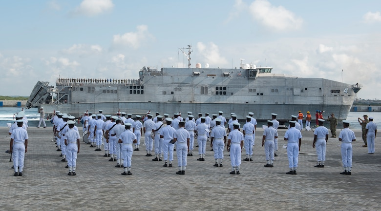 HAMBANTOTA, Sri Lanka (March 7, 2017) The Sri Lanka navy band performs as the expeditionary fast transport ship USNS Fall River (T-EPF-4) arrives in Hambantota to participate in Pacific Partnership 2017 mission stop Sri Lanka. Pacific Partnership is the largest annual multilateral humanitarian assistance and disaster relief preparedness mission conducted in the Indo-Asia-Pacific and aims to enhance regional coordination in areas such as medical readiness and preparedness for manmade and natural disasters.