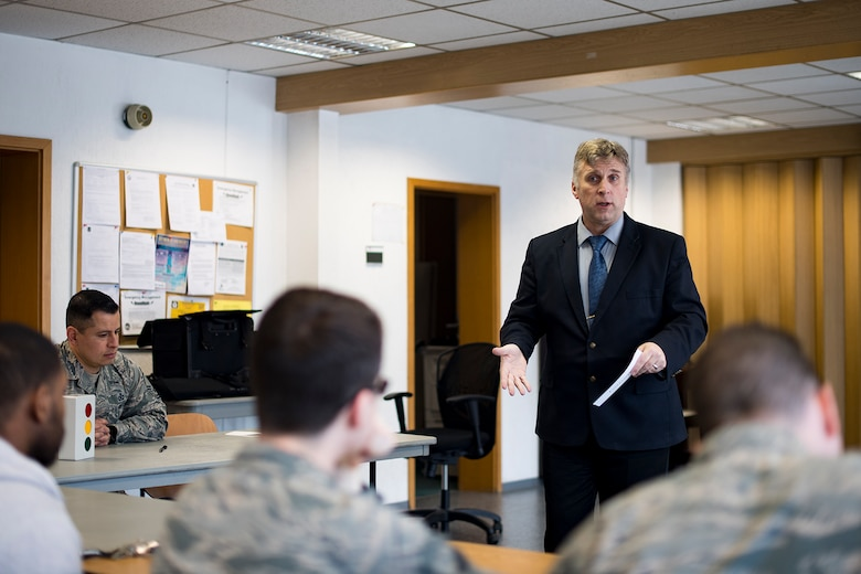 David Sears, Ramstein Speakers Association mentor, speaks during a Toastmasters meeting at the Southside Chapel on Ramstein Air Base, Feb. 20, 2018. Toastmasters RSA currently meets up on the first, second, and third Tuesday of each month to improve public speaking skills. (U.S. Air Force photo by Senior Airman Devin Boyer)