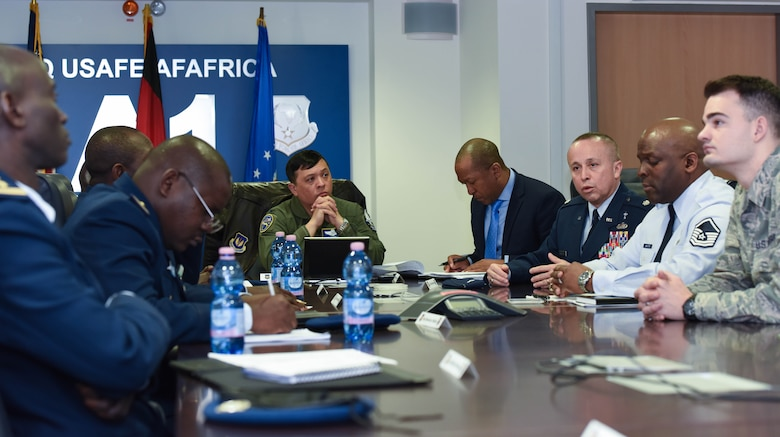 U.S. Air Force Lt. Col. Charles Montoya, Air Forces in Europe deputy command chaplain, speaks with Senegal Air Force representatives on the importance of establishing a spiritual foundation to serve its members when they're located far from their families at U.S. Air Forces in Europe Headquarters, on Ramstein Air Base, Germany, Feb. 16, 2018. The Senegal Air Force seeks to expand the amount of bases from two to five.