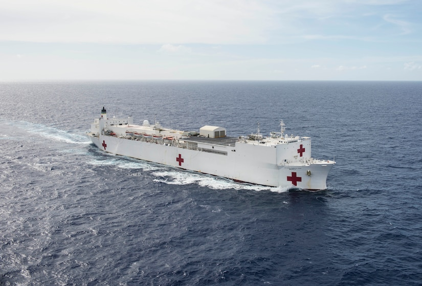 PACIFIC OCEAN (Sept. 12, 2016) USNS Mercy (T-AH 19) steams in the Pacific Ocean after completing Pacific Partnership 2016 in the Indo-Asia-Pacific region. Mercy is sailing to her homeport of San Diego.