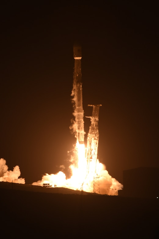 Team Vandenberg successfully launched a Falcon 9 rocket carrying a PAZ payload from Space Launch Complex-4 here, Thursday, Feb. 22, at 6:17 a.m. PST. (U.S. Air Force photo by Tech. Sgt. Jim Araos/Released)