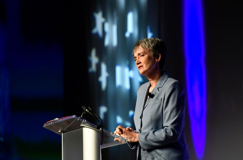 Secretary of the Air Force Heather Wilson speaks about innovation during the Air Force Association Innovation: The Warfighter's Edge conference in Orlando, Fla., Feb. 22, 2018. (U.S. Air Force photo by Wayne A. Clark)