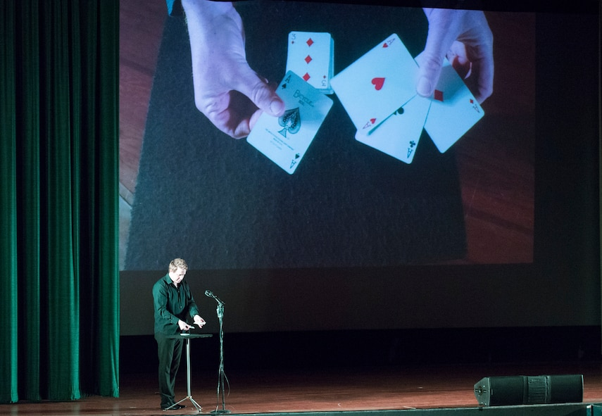 Magician and Illusionist Mike Super performs at WPAFB