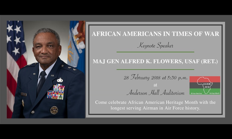 Retired Maj. Gen. Alfred K. Flowers speaks at Laughlin Air Force Base, Feb. 28, 2018. Flowers' speech on leadership will be the final event in this year's African American Heritage Month celebration. Flowers, having served 47 years, is the longest serving Airman. (U.S. Air Force Graphic/1st. Lt. Mahalia Frost)