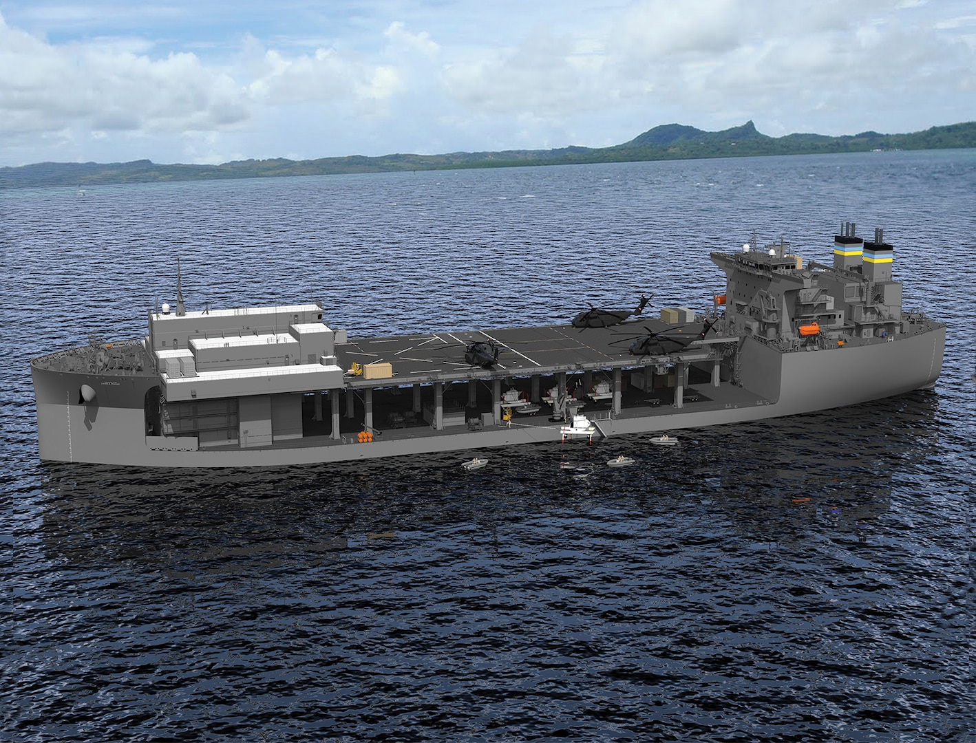 """171019-N-N0101-110 WASHINGTON (Oct. 19, 2017) An undated artist rendering of the future expeditionary sea base USNS Hershel """"Woody"""" Williams (T-ESB 4)."""