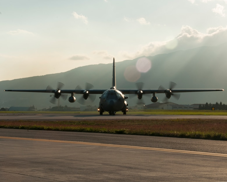 A C-130H3 Hercules from Dobbins Air Reserve Base taxis at Aviano Air Base, Italy on April 14, 2016.