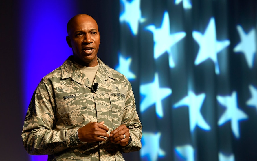 Chief Master Sgt. of the Air Force Kaleth O. Wright speaks about harnessing the innovative spirit of Airmen during the Air Force Association Air Warfare Symposium in Orlando, Fla., Feb. 22, 2018. (U.S. Air Force photo by Wayne A. Clark)