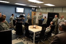 Airmen have an open discussion on new innovation processes in the future at Beale Air Force Base, California