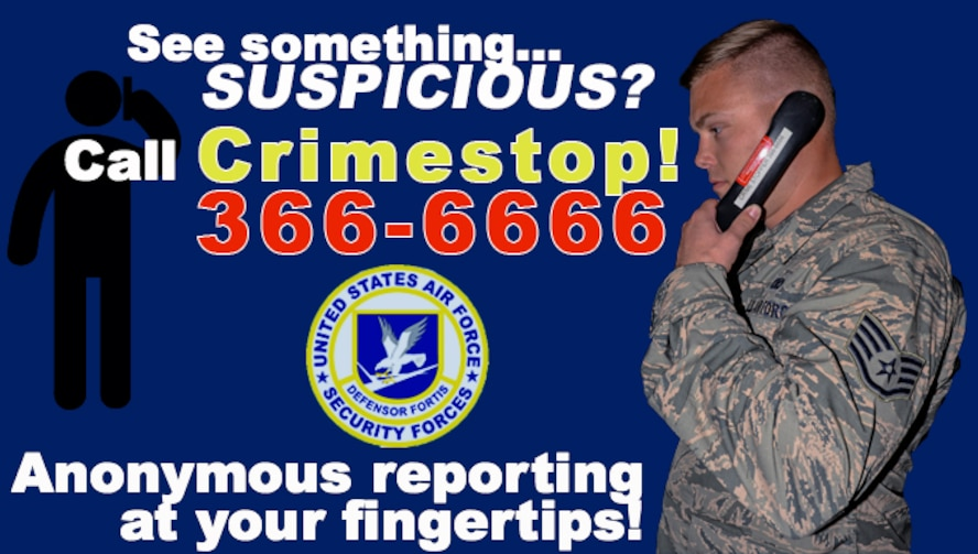 Andersen Air Force Base 36th Security Forces Squadron implemented an anonymous tipline system for servicemembers and their families to report suspicious activity both on and off base involving any service members. (U.S. Air Force Graphic by Senior Airman Alexa Ann Henderson)