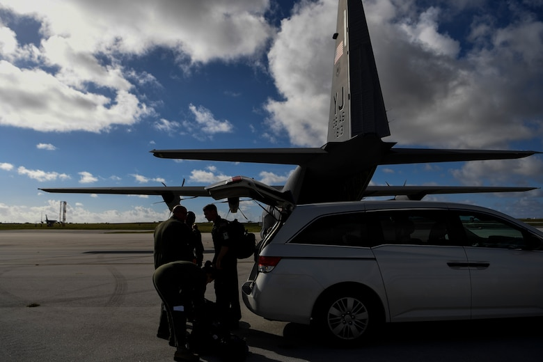 U.S. Air Force Reserve Airmen arrive for an aeromedical mission at the Andersen Air Force Base, Guam, flightline during exercise COPE NORTH 18 (CN18), Feb. 19.