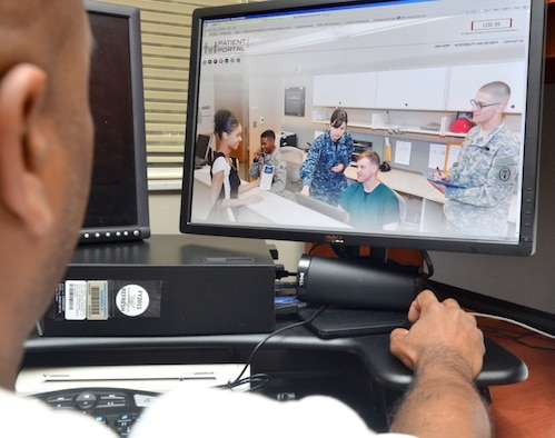 Advancements in telehealth services have made it easier and more convenient for patients to access the healthcare services they need. The Air Force Medical Service has used advancements in telehealth to offer patients a wide variety of services such as secured messaging with their healthcare team, and virtual appointments with specialists that can be accessed from anywhere. (U.S. Air Force graphic)