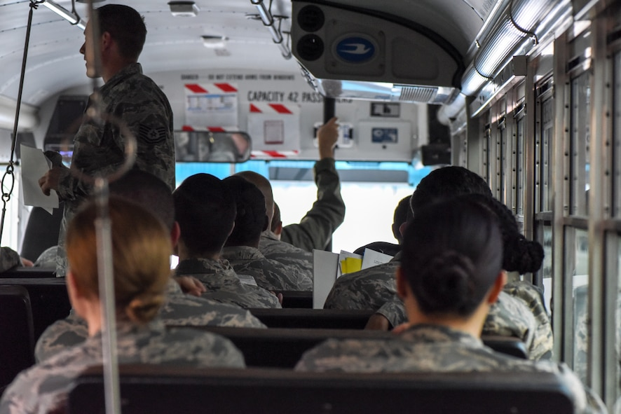 U.S. Air Force Airmen assigned to the 39th Medical Group participate in a contingency medical exercise at Incirlik Air Base, Turkey, Feb. 16, 2018. During the exercise, Airmen were shuttled to a temporary medical facility and evaluated on the capabilities of the medical contingency response plan disaster teams. (U.S. Air Force photo by Airman 1st Class Octavius Thompson)