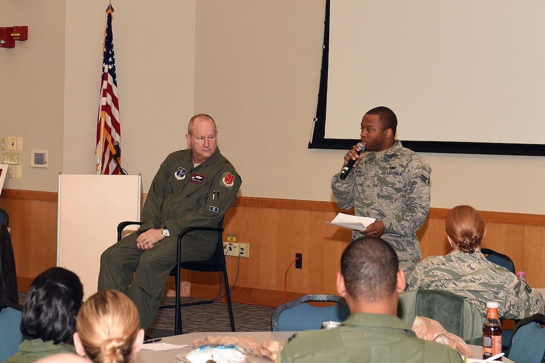 "Senior Airman David Palmer, 171st Air Refueling Squadron here, reads the mission statement of the 127th Wing's Diversity Council during the first, ""Lunch and Learn,"" event hosted by the group Thursday."