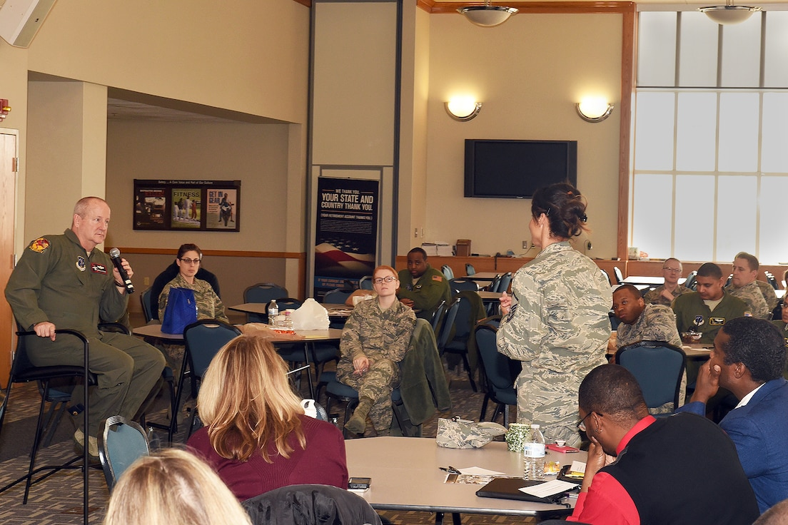 "Master Sgt. Sheila Lipe,  with the 127th Maintenance Group here, asks Brig. Gen. John D. Slocum a question during the Wing's, ""Lunch and Learn,"" event hosted by the 127th Wing Diversity Council Thursday."