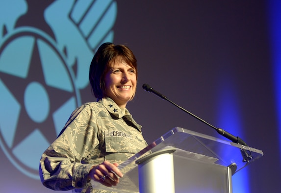 Maj. Gen. Kim Crider, Air Force chief data officer, speaks during the Air Force Association Air Warfare Symposium Feb. 23, 2018, Orlando, Fla. Founded in summer 2017, the Chief Data Office remains focused on unleashing the value of data across the Air Force. (U.S. Air Force photo by Staff Sgt. Rusty Frank)
