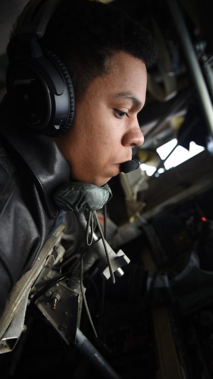 U.S. Air Force Senior Airman Justin Pauleon, 351st Air Refueling Squadron boom operator prepares the boom for aerial refueling over Germany, Feb. 23, 2018. The air refueling was part of a large force exercise with NATO allies including the Belgian, Dutch, French and German air forces.  (U.S. Air Force photo by Airman 1st Class Luke Milano)