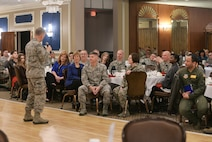 U.S. Air Force Maj. Gen. Dondi Costin, chief of chaplains, speaks to a crowd of Team Offutt members during the National Prayer Breakfast held inside the Patriot Club on Offutt Air Force Base, Nebraska, Feb. 15, 2018. Chaplain Costin is responsible for establishing effective programs to meet the religious needs of Airmen and their dependents.